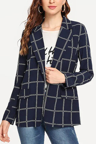 Fashion Lapel Long Sleeve Grid Blazer