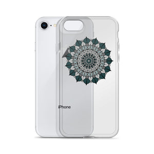 Deep Teal Flower Mandala iPhone Case