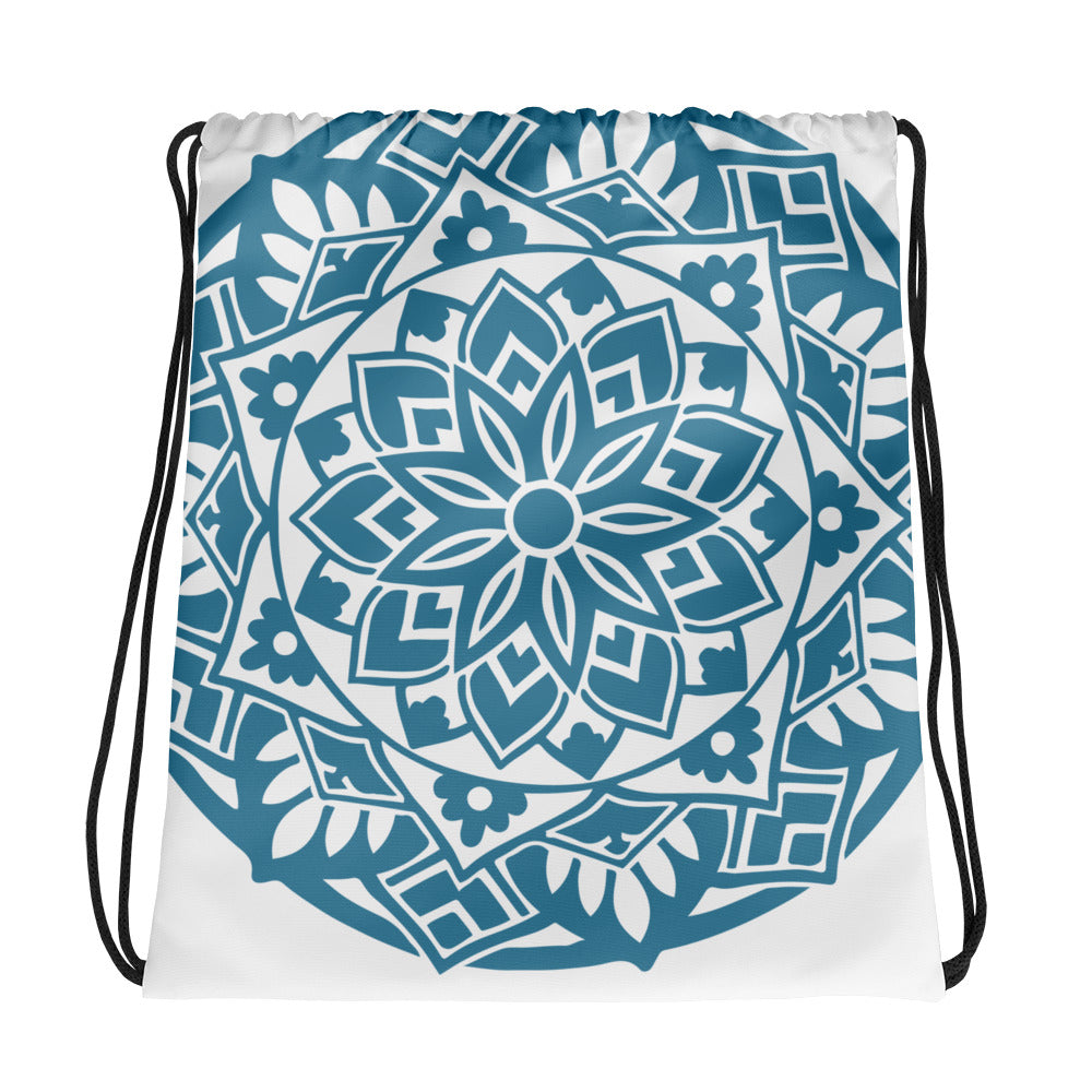 Blue Floral Mandala Drawstring Bag