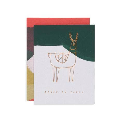 Reindeer Peace Holiday Greeting Card - FINAL SALE