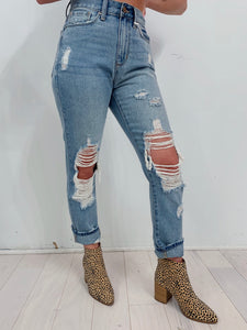 Arya Girlfriend Jeans in Light Wash
