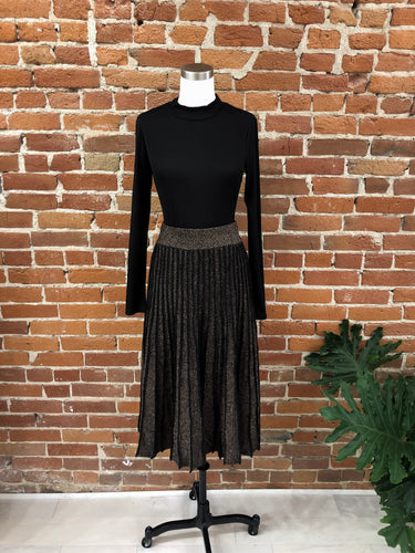 Gracie Pleated Skirt in Bronze Metallic
