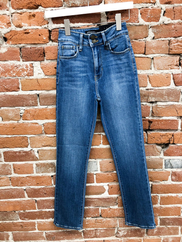 Sylvia Double-Button Straight Leg Jeans in Medium Wash