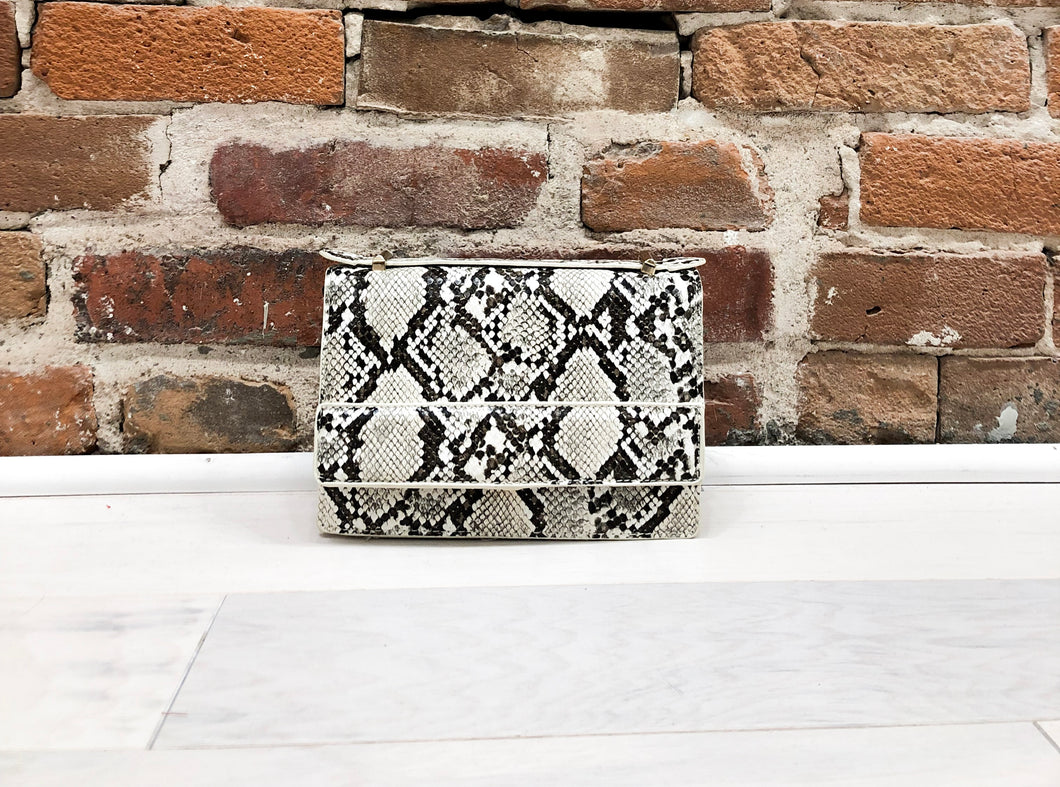 Caroline Purse in White Snake