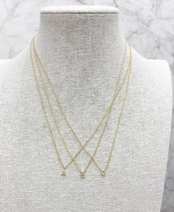 "Sparkle Initial Necklace - ""W"""