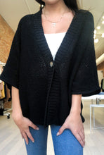Load image into Gallery viewer, Claudia Half Sleeve Kimono Cardigan in Black