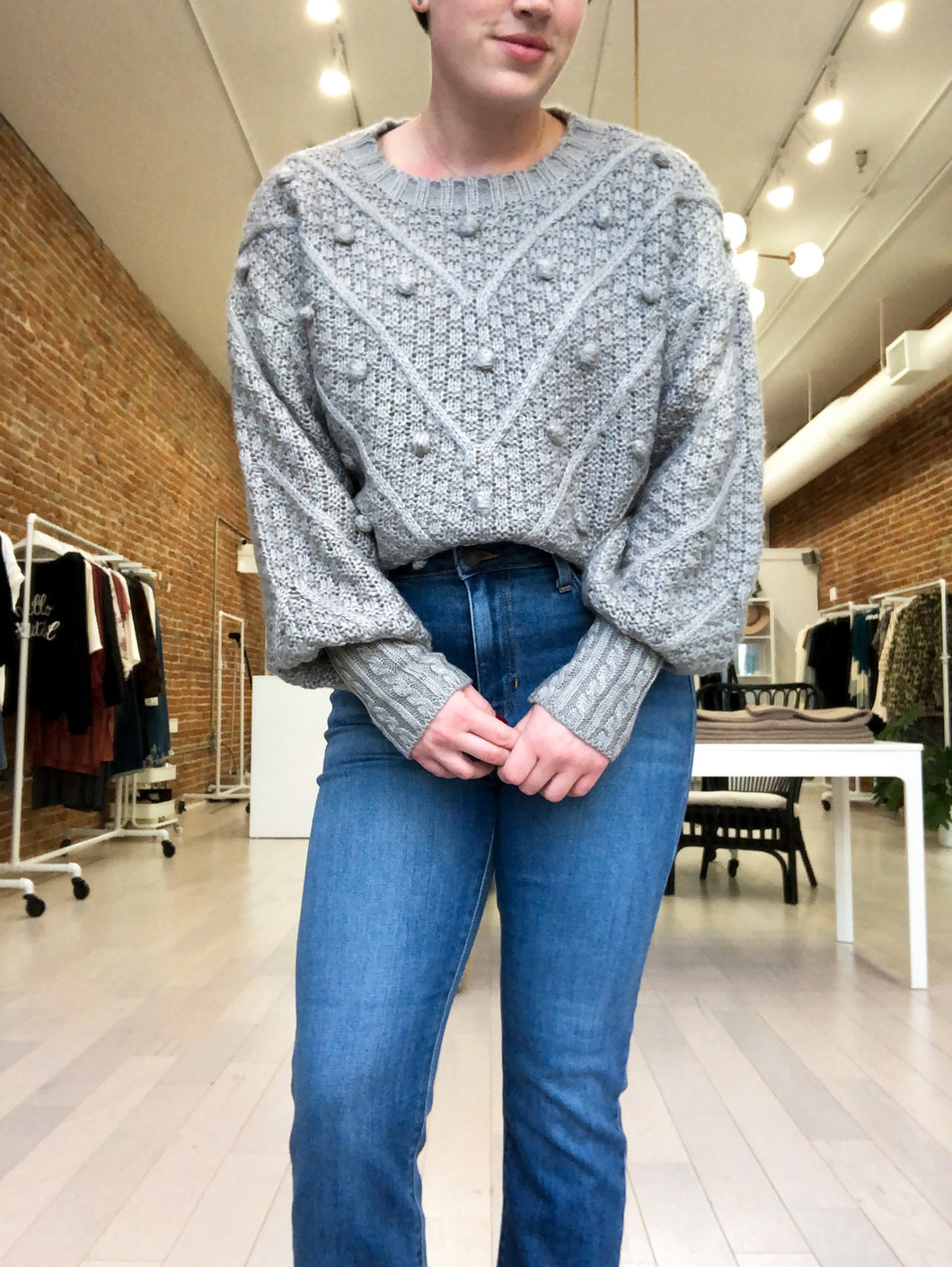 Glenda Pom Pom Knit Sweater in Gray