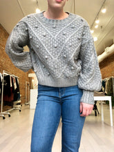 Load image into Gallery viewer, Glenda Pom Pom Knit Sweater in Gray