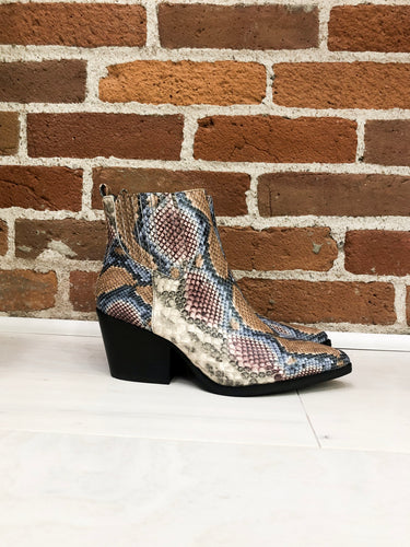Faith Booties in Blue Snake Print
