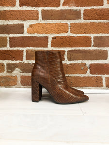Hermione Block Heel Bootie in Brown Croc