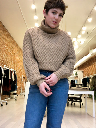 Roden Chevron Knit Turtle Neck Sweater in Camel