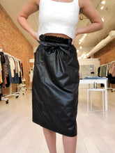 Load image into Gallery viewer, MaryBeth Faux Leather Midi Skirt with Tie Belt in Black