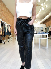 Load image into Gallery viewer, BethAnne Faux Leather Pants with Self Tie Belt in Black
