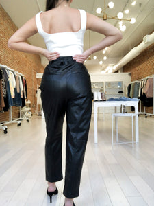 BethAnne Faux Leather Pants with Self Tie Belt in Black
