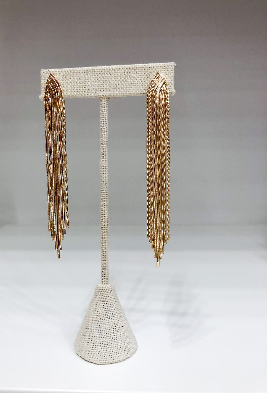 Heather Metal Tassel Earrings in Gold
