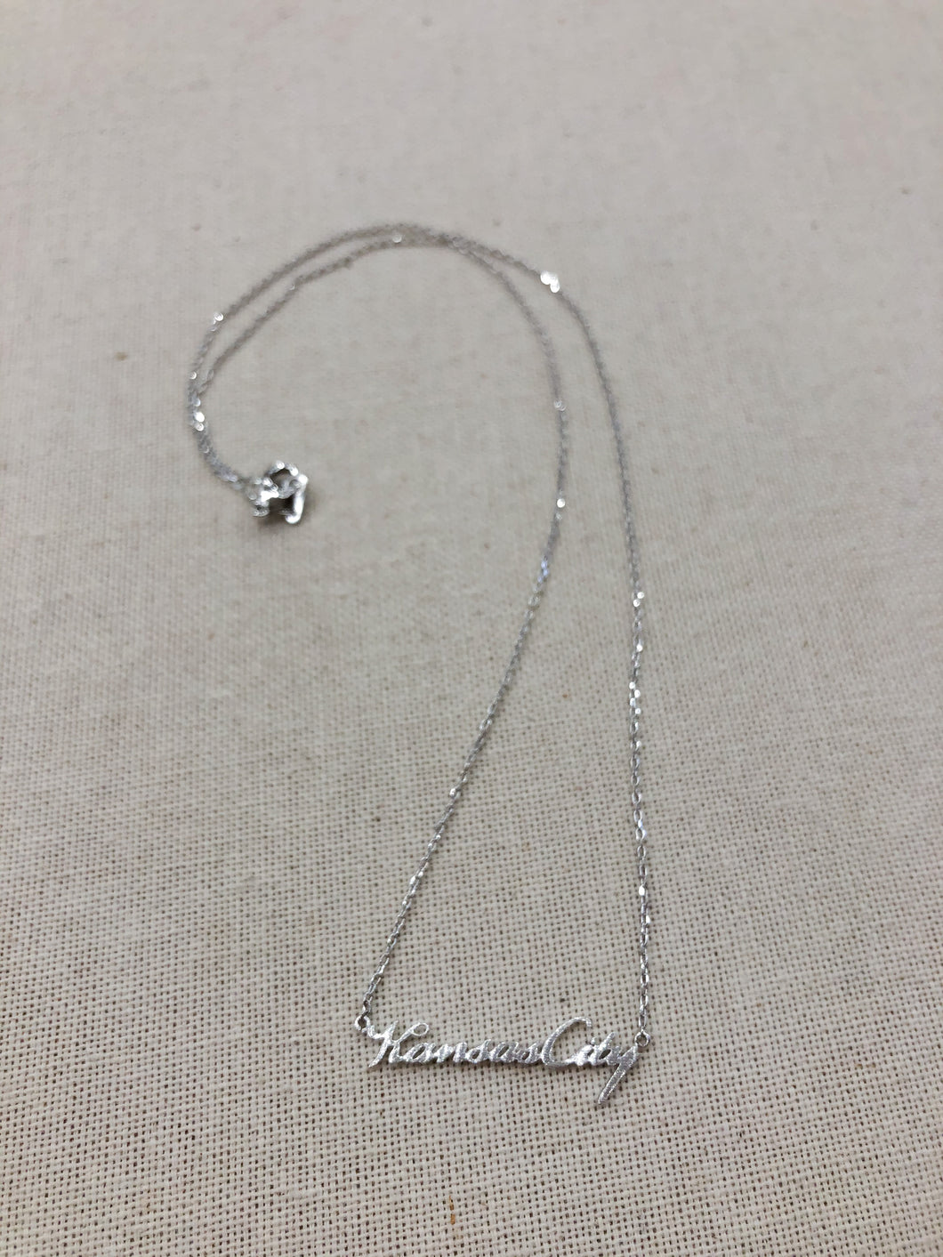 Kansas City Script Necklace in Silver