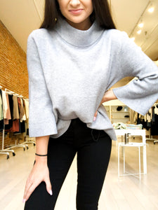 Mock Neck Sweater in Charcoal