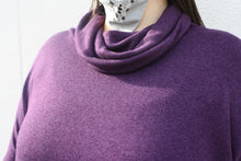 Load image into Gallery viewer, NOVAA Cowl Neck Modal Sweater in Plum - exclusive