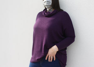 NOVAA Cowl Neck Modal Sweater in Plum - exclusive