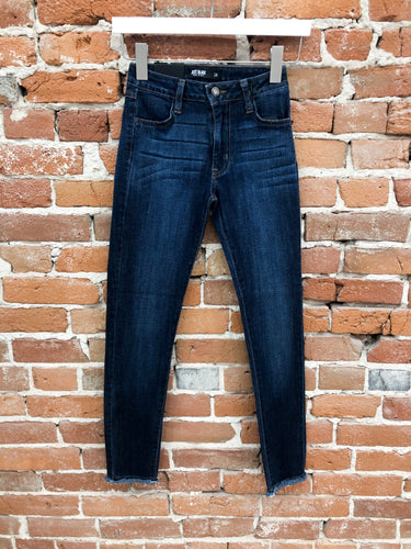 Kate Skinny Denim in Dark Wash with Frayed Hem