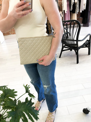 O'Connor Quilted Clutch in Taupe