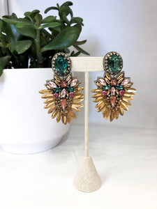 Lakshmi Earrings in Emerald and Gold