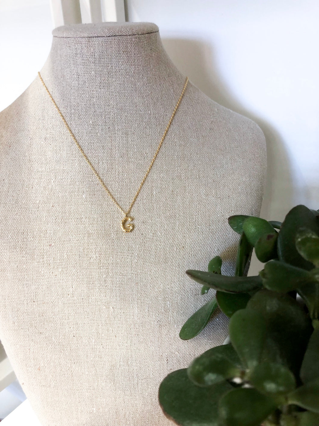Bamboo Initial Necklace - G