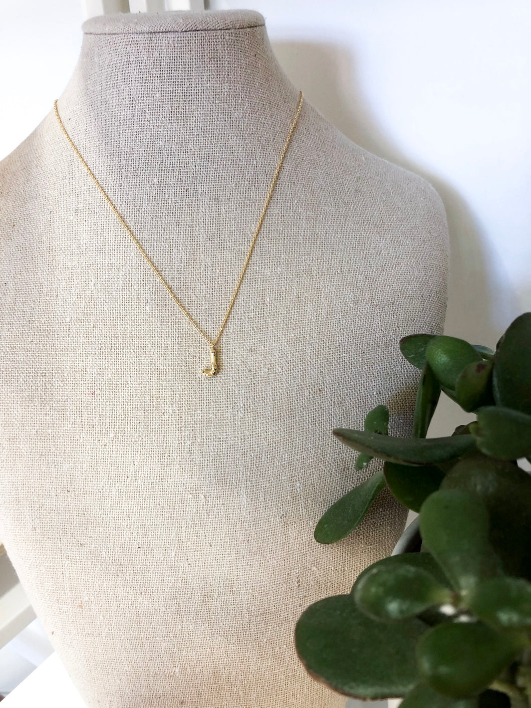 Bamboo Initial Necklace - J