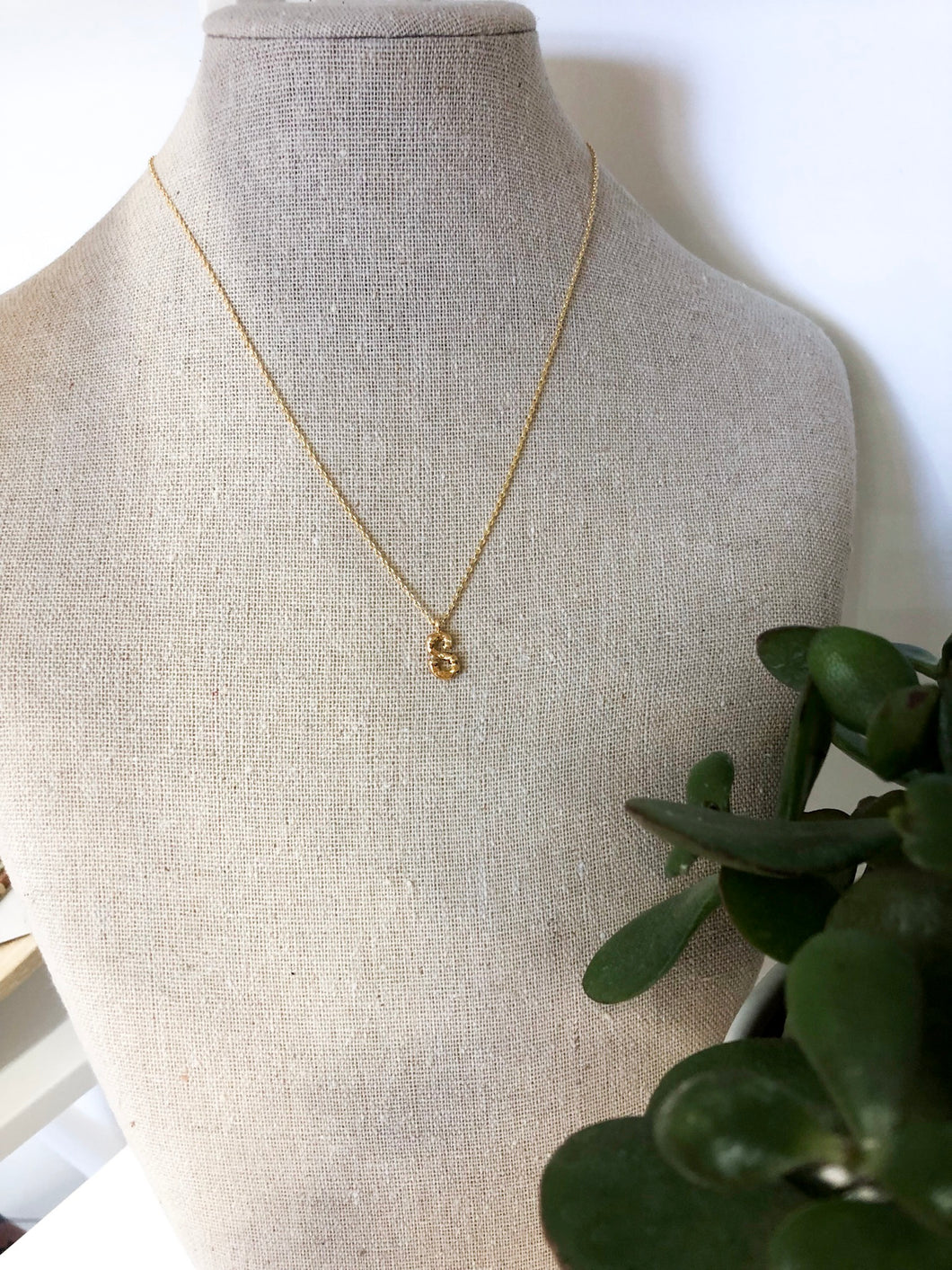 Bamboo Initial Necklace - S