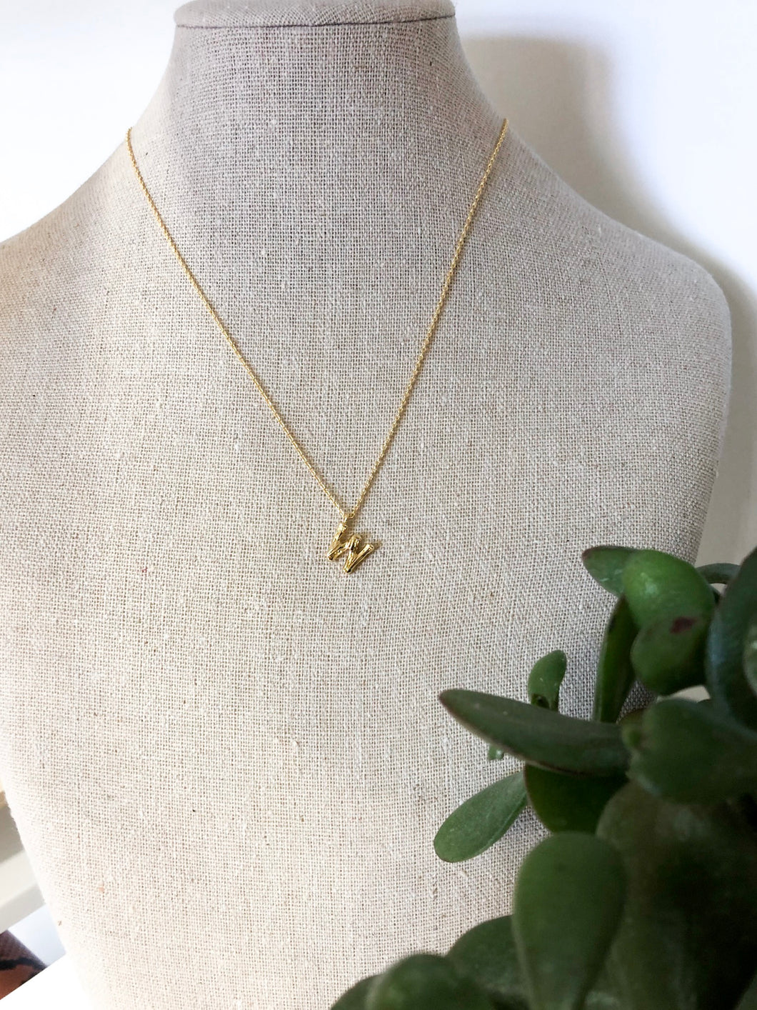 Bamboo Initial Necklace - W