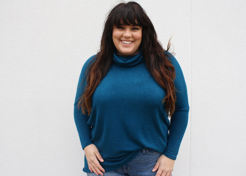 NOVAA Cowl Neck Modal Sweater in Moroccan Blue