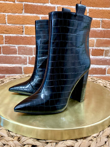 Christina Booties in Black Croc - FINAL SALE