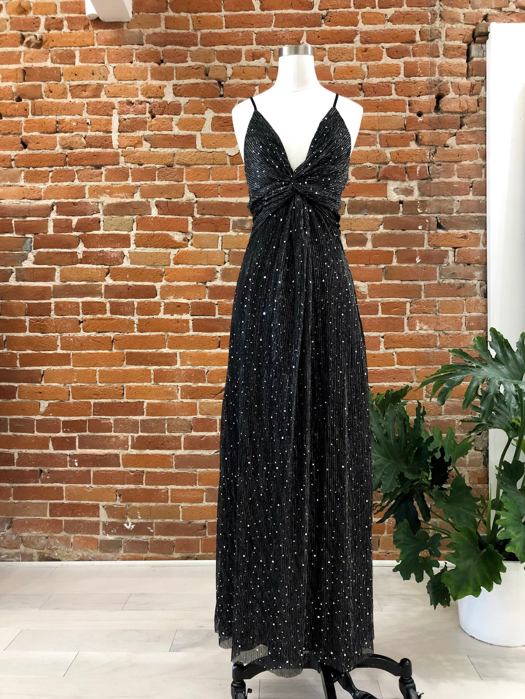 Portia Sequined Maxi in Black