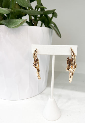 Abstract Metallic Geo Stud Drop Earrings in Gold