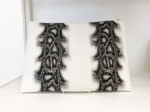 Showstopper Large Clutch in White Snake Print