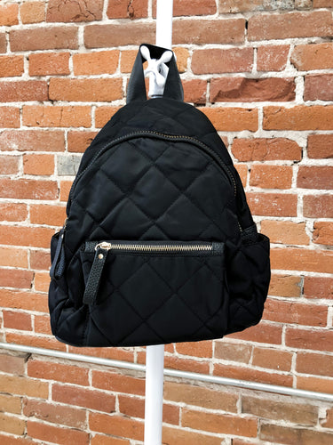 Crush Quilted Backpack in Black