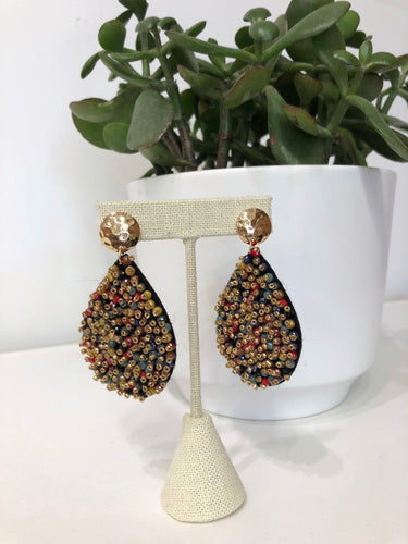 Carmine Earrings in Multi Bead