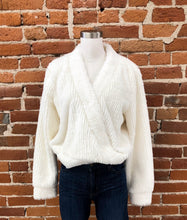 Load image into Gallery viewer, Melva Fuzzy Wrap Sweater in Ivory