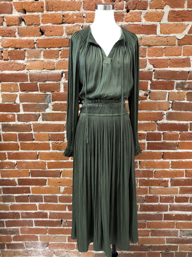 Matty Pleated Dress in Olive