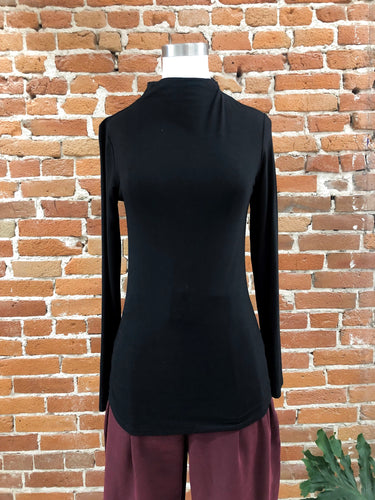 Susan Mock Neck Top in Black