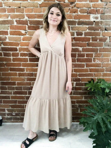Morrisette Back-Tie Sundress in Sand