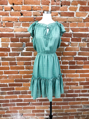 Deandra Ruffle Dress in Leaf Green
