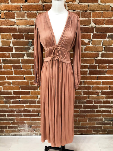 Victoria Pleated Dress in Light Copper