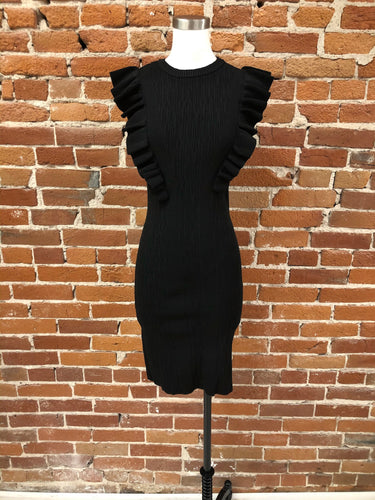 Eunice Ruffle Bodycon Dress in Black