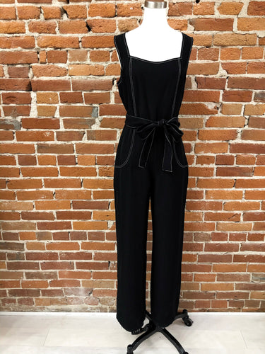 Paloma Jumpsuit in Black Contrast Stitch