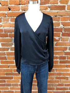 Parisian Night Wrap Blouse in Navy