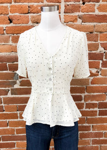 Joseline Blouse in Cream Dots