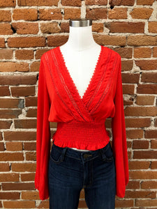 La Quinta Lace Blouse in Red