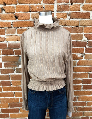 Johnnie Smocked Blouse in Taupe
