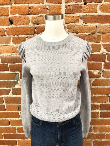 Channing Pointelle Sweater in Grey